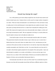 Argumentative essay about gay marriage