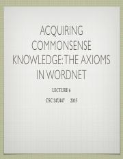 Lecture 6 Axiomatizing WordNet