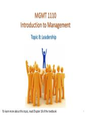 MGMT1110 Topic 8 leadership