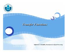 Lecture 06 - Transfer Functions