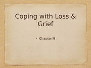 Ch 9: coping with loss & grief