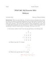 Stats 285 Midterm Solutions