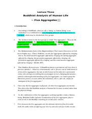 03Buddhist Analysis of Life-Five aggregates.doc