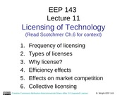 EEP 143 Lecture 11 Licensing
