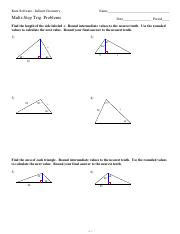 9 Solving Right Triangles Kuta Software Infinite Geometry Name Solving Right Triangles Date Period Find The Missing Side Round To The Nearest Tenth 1 Course Hero