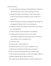 a character analysis of wang lung in the good earth Common core reader  read this excerpt from the good earth,  character evidence wang lung number correct 3 point of view upset that he is.