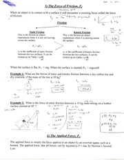 Force of Friction Note