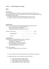 QUIZ II.A. 61106 Principles of Accounting