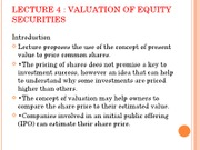 Lecture 4 Valuation of Equity Securities student