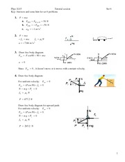 Tutorial 6 Answers - Free Body Diagrams