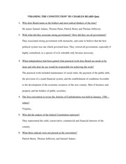 "FRAMING THE CONSTITUTION"" BY CHARLES BEARD Quiz"
