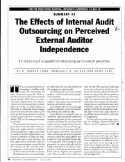 The Effects of Internal Audit Outsourcing on Perceived External Auditor Independence