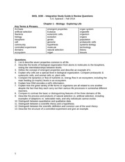 BIOL 1030-Fall 2014-Study Guide Terms & Questions-2