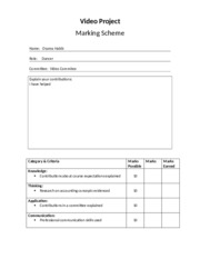 Video Project - Marking Scheme - Dec 2011