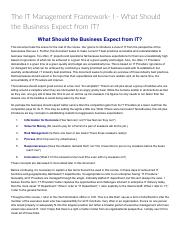 The IT Management Framework- I - What Should the Business Expect from IT__ Technology Management & D