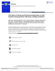 The Role of Social and Personal Identities in Self Esteem Among Ethnic Minority College Students