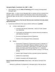 Framework for an Aboriginal Rights Analysis under s.35 for Constitutional Law