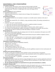 GenChem2- Lecture Topic 3 - Chemical Equilibrium Notes