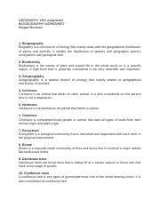 biogeographic-worksheet - Allison Green Geography 1301 Assignment ...