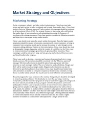 Final Marketing Strategy and Objectives