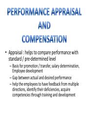 HRM 3 pdf - • Appraisal helps to compare performance with