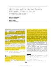 18. Chatzisarantis 2007-Mindfulness and the Intention-Behavior Relationship Within the Theory of Pla