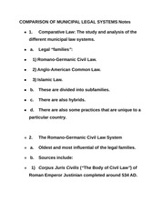 COMPARISON OF MUNICIPAL LEGAL SYSTEMS Notes