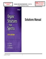 Organic Structures from Spectra 5E (Solutions Manual)