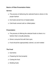 Basics of Plate Presentation Notes