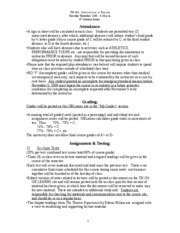 TH 101 SYLLABUS [PART B - ATTENDANCE, GRADING, ASSIGNMENTS & TESTING]