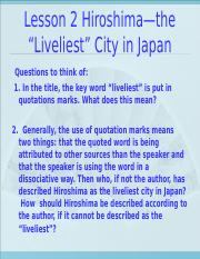 "Lesson 2 Hiroshima—the ""Liveliest City in Japan"