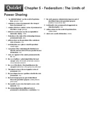 Print › Chapter 5 - Federalism _ The Limits of Power Sharing _ Quizlet