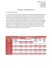 Laboratory Report 4 - Pendulum and Calculation of g