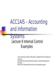 PowerPoint slides for Internal Control Examples