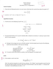 Inverse Functions, Logarithmic Functions Assignment