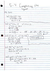 Homework, Completing the Square