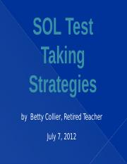 SOL Test Taking Strategies PPT for channel 10     12-6-10.ppt