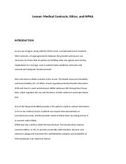 Lesson  9 Medical Contracts, Ethics,.docx