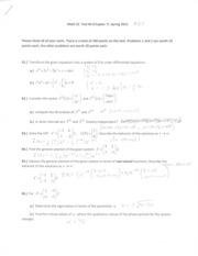 Math 55 Test #4 (Chapter 9) Sample Test SOLUTIONS