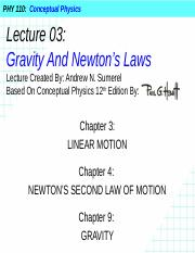 PHY 110 Lecture 03 - Gravity And Newton's Laws.pptx