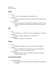 Engels, Mill, and Gillman Notes, Social Theory