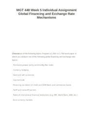 MGT 448 Week 5 Individual Assignment Global Financing and Exchange Rate Mechanisms