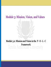 Module 3.2_Mission and Vision in the  P - O - L - C Framework