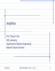 imppp amlifier design pdf - Amplifiers Prof Tzong-Lin Wu EMC