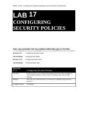 410 R2 Lab Worksheet Lesson 17 Configuring Security Policies