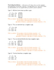 mini-lecture -- Factoring Summary