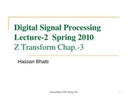 Digital Signal Processing,  Lecuter-3, Z Transform