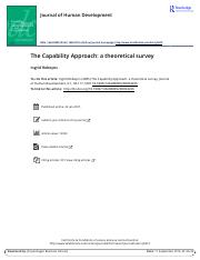 The Capability Approach a theoretical survey
