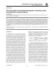 The social pillar of sustainable development- a literature review and framework for policy analysis.