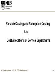Week 03 - Absorption & Variable Costing_Costs of Svc Dept_Student Notes